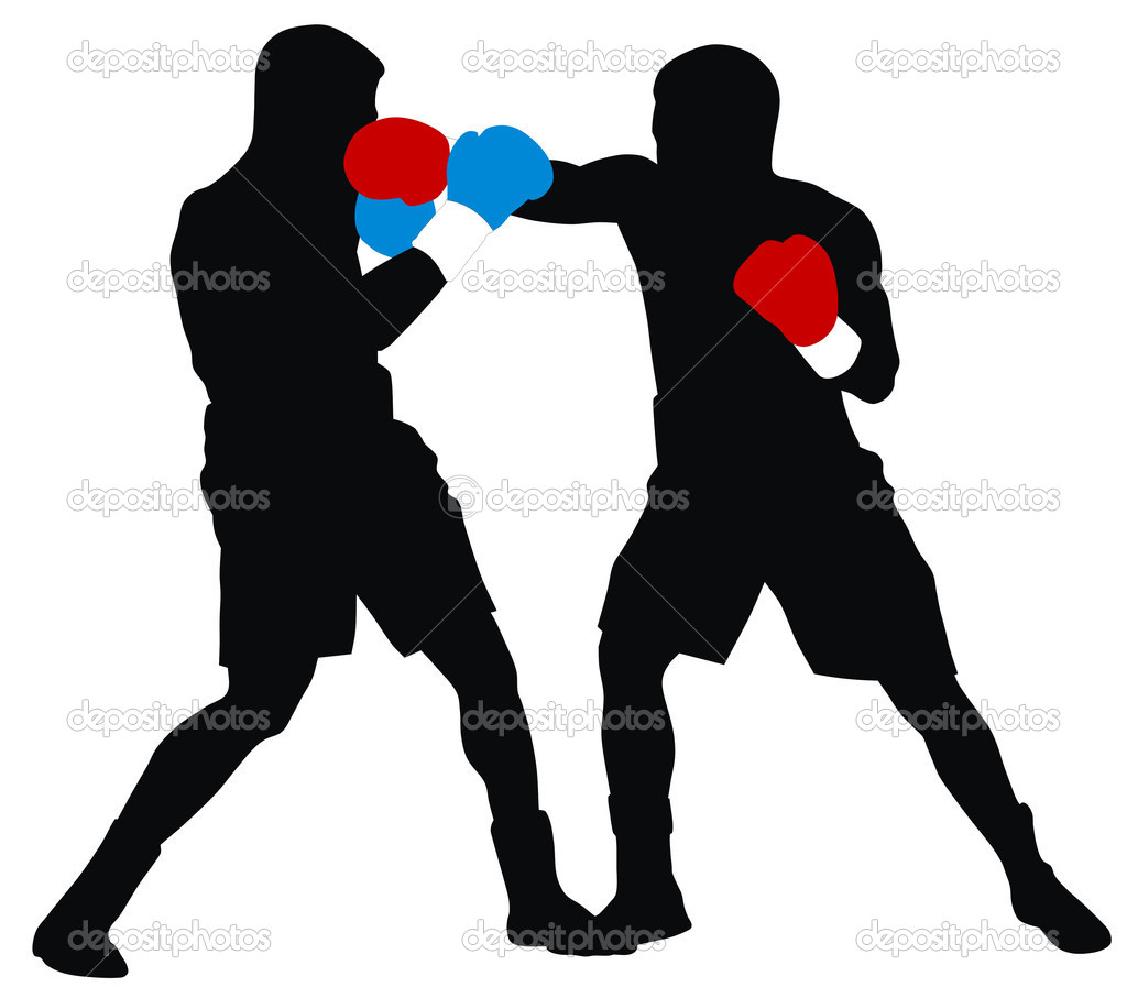 Abstract illustration of boxing men silhouettes  Stock Vector #4297048