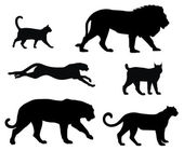 Cats silhouettes — Vector de stock