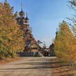 A wooden temple in Sviatohirsk Cave Monastery in Ukraine, Sviatohirsk — Stock Photo #4608472