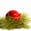 Red balls on a white background and branch of pine — Stock Photo