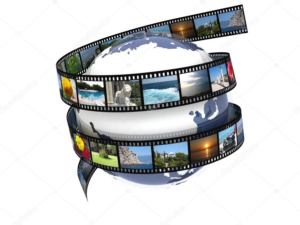 Earth wrapped in film with images — Stock Photo #4881459
