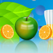 Green apple and orange illustration — ストック写真 #4121601