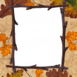 Rusty leaves frame — 图库照片