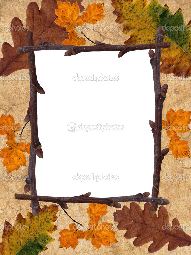 Rusty leaves frame for greetings card   Stock Photo #4157742