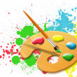 Easel - paint palette - Stock Photo