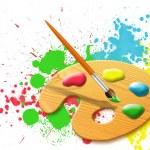 Easel - paint palette — Stock Photo