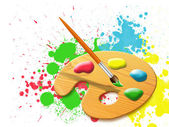 Easel - paint palette — Stock Photo