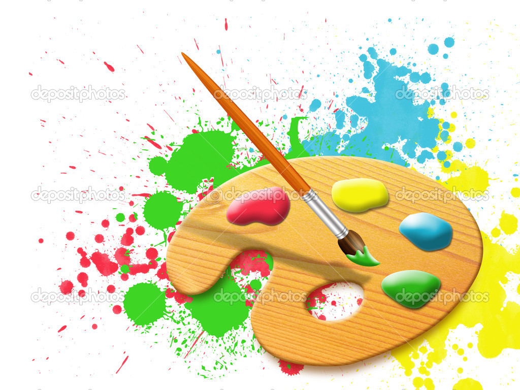Easel - paint palette and stains of paint splashes   Stock Photo #4178661