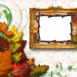 Autumn leaves with frame — Stock Photo