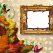 Autumn leaves with frame - Stock Photo