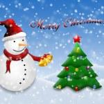 Christmas postcard with snowman — Stock Photo #4264141