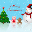 Merry Christmas postcard with snowman and christmas tree — Stock Photo