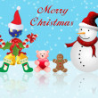 Stock Photo: Merry Christmas postcard with snowman