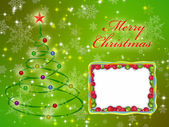 Merry christmas card on the green background ornamented — Stock Photo