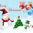 Christmas postcard with snowman — Stock Photo #4374981
