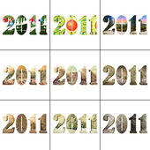 2011 new year - collection of 9 different numbers — Stock Photo