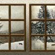 A winter view through a wood rustic window — Stock Photo #4464998