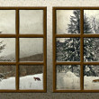 Stock Photo: Winter view through wood rustic window