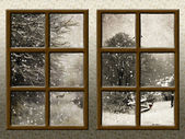 A winter view through a wood rustic window — Stock Photo