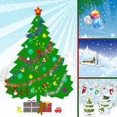 Collage illustration of winter season — Stock Photo