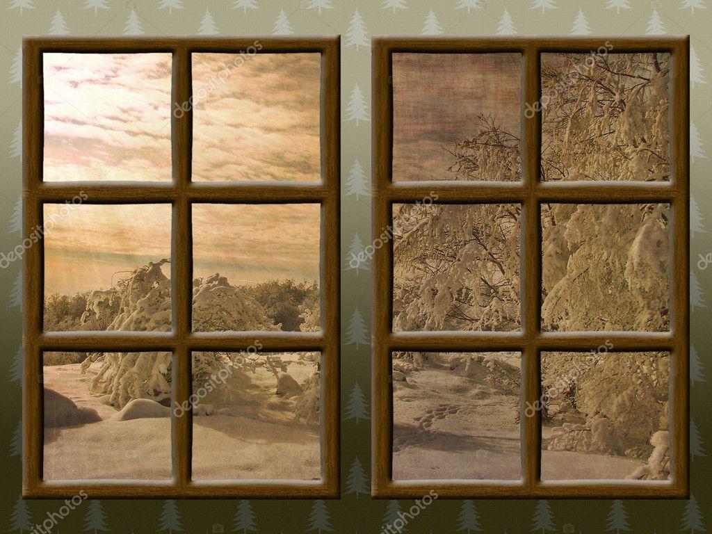 Une vue de l 39 hiver travers une fen tre en bois rustique for Fenetre hiver