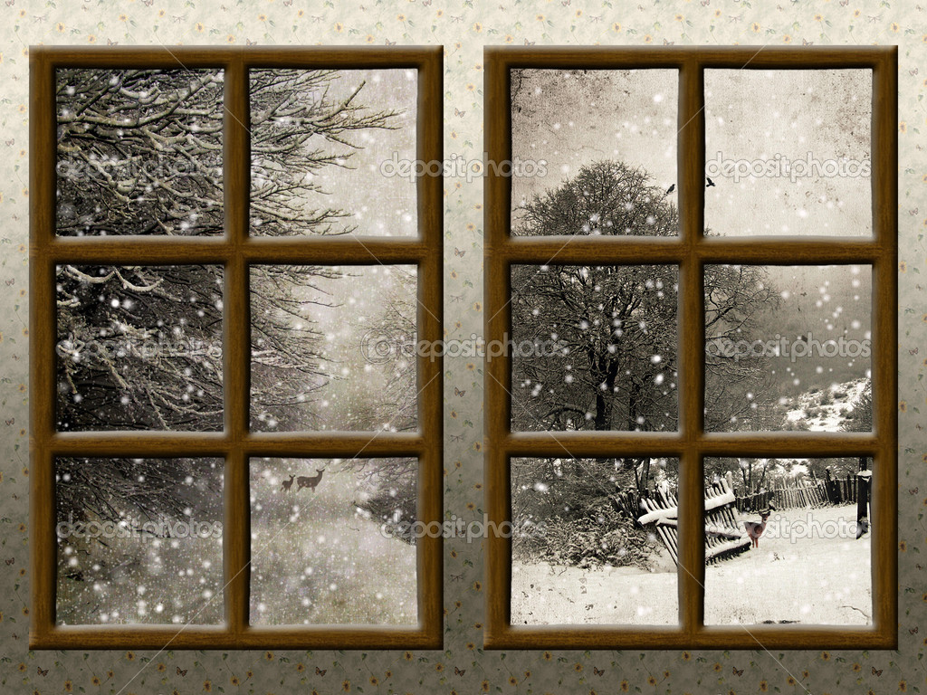 A winter view through a wood rustic window stock photo for Finestra con neve