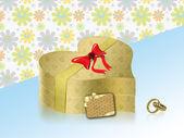 Golden heartbox present — Stock Photo