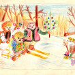 An old hand drawing picture - rustic winter scene — Stock Photo