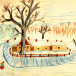 Rural winter scene - an old hand drawing picture — Stockfoto