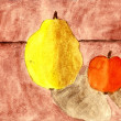 Stock Photo: Quince and apple - hand watercolor painting