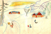 Rural winter scene - an old hand drawing picture — Stock Photo