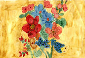 Un ramo de flores - acuarela mano pintura — Foto de Stock