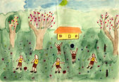 A playground - hand watercolor painting — Stock Photo