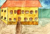 Dom szkoły - dłoń akwarela malarstwo — Zdjęcie stockowe