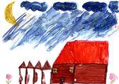 Un dipinto ad acquerello di mano di un bambino — Foto Stock