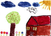 A hand watercolor painting by a child — Stock Photo
