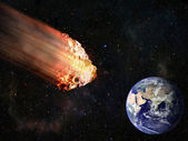 Flaming asteroid hitting earth — Stock Photo