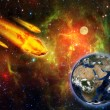 Stock Photo: Burning asteroid hitting earth