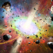 Space vortex fantasy and asteroids — Stock Photo