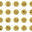 Collection of various animals golden badge signs — Stock Photo