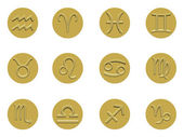 Collection of golden badge signs of the zodiac — Zdjęcie stockowe