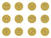 Kolekcja złota odznaka znaków zodiaku — Zdjęcie stockowe