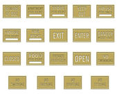 Collection of gold rectangular plates engraved with a notice — Stock Photo