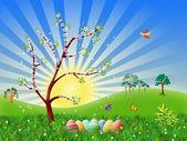 Easter nature spring illustration — Stock Photo