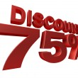 3D render of a 75 percent discount sign isolated on a white backgroun — Stock Photo