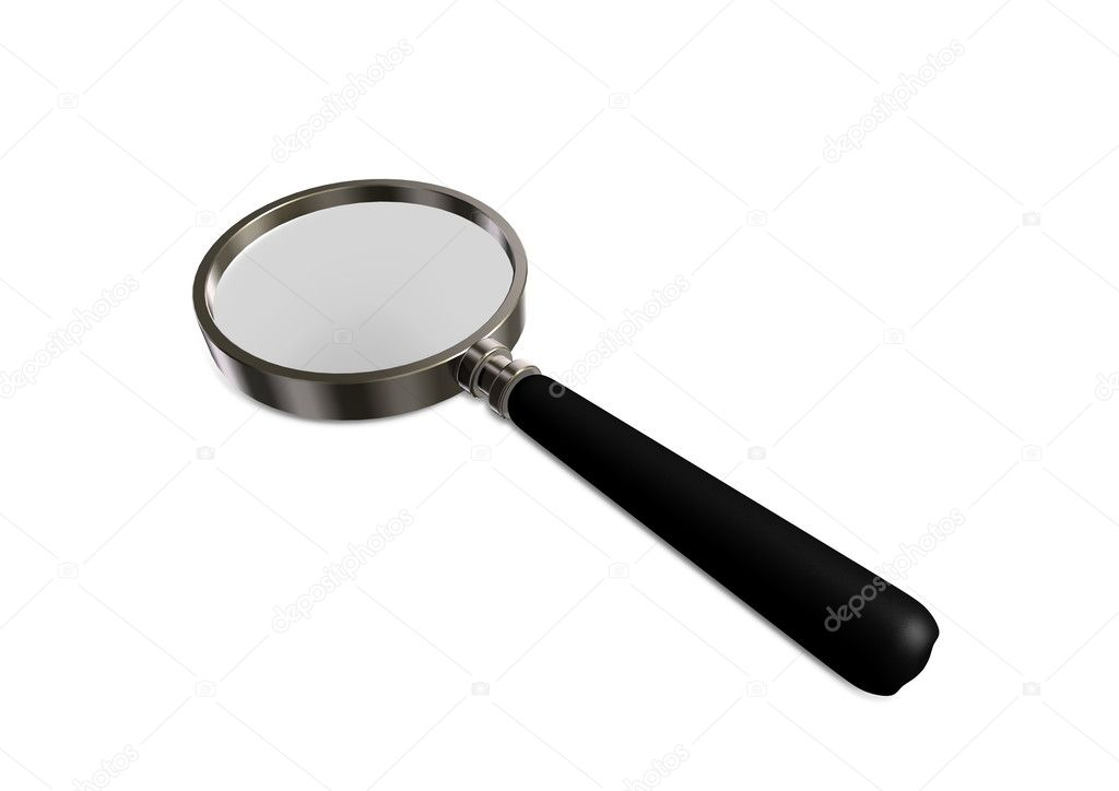 Magnifying glass isolated on white with soft shadow  Stock Photo #4324951