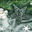 Christmas composition: Angel, a star and a fir branch — Stock Photo