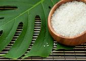 Spa. White sea salt in a wood vial. — Stock Photo
