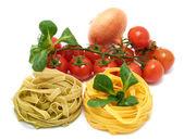 Italian pasta tagliatelle with vegetables — Stock Photo