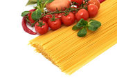 Italian pasta spagetti with vegetables — Stock Photo